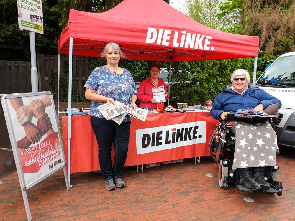 Infostand im Mai von DIE LINKE zur EU-Wahl 2019 in Ganderkesee