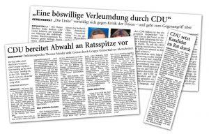 Presseartikel zur Verleumdung der LINKE Katja Radvan durch CDU Hatten